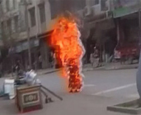 Self-Immolation of Tibetan Monk