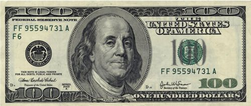 Benjamin Franklin 100 Dollar Bill