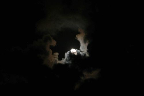 Summer Moon and Clouds